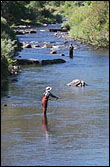 Photo of two people flyfishing in the Platte River.